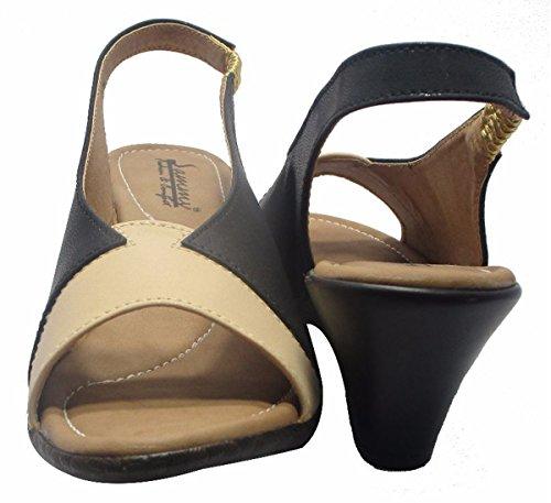 Sammy les femmes sandale peep toe confort petit dos dames sangle chaussures Noir