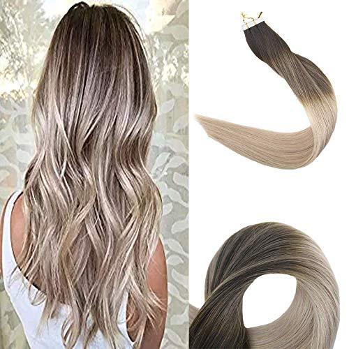 Full Shine 14 Zoll Tape in Haarverlängerungen 20 Stück 50 Gramm Balayage Farbe # 2 verblasst # 18 Ash Blonde mit Farbe # 60 Blonde Remy Haarverlängerungen Ombre Tape in -