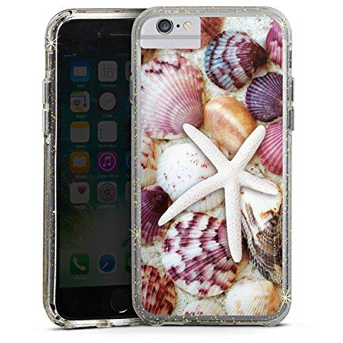 Apple iPhone 7 Plus Bumper Hülle Bumper Case Glitzer Hülle Muscheln Seestern Strand Bumper Case Glitzer gold