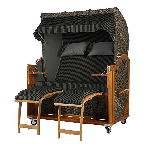 Teak Strandkorb 2,5 Sitzer Anthrazit Grau gestreift 140cm Breite Rattan Mokka dunkel inkl. Vollausstattung