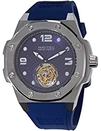 No limit Nautec hombre-reloj analógico de pulsera de caucho Tourbillon Carboid TB CDB/RBSTST-BL