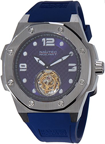 Nautec No Limit Men's Quartz Watch with Tourbillon Carboid Analogue Hand Winding Rubber TB CBD/Rbstst BL