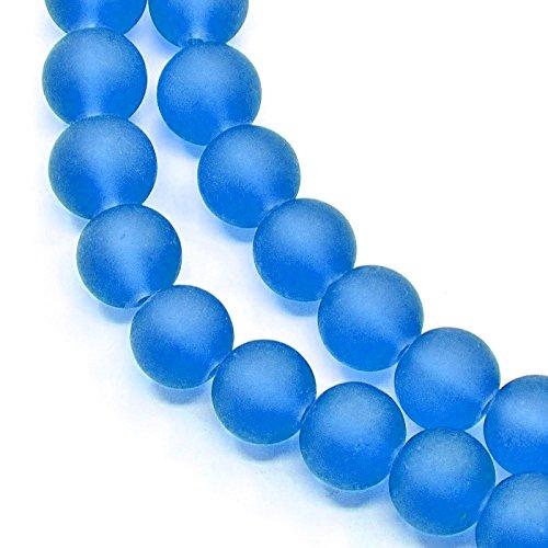 Gefrostete Glasperlen Blau KUGELN 10mm Matt Strange Vereist Perle Schmuckperlen Perlenkette R33