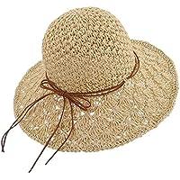 Enfant Fille Chapeau Été en Paille Chapeau Capeline de Soleil Pliable  Chapeau de Plage Anti UV 723dc28d817