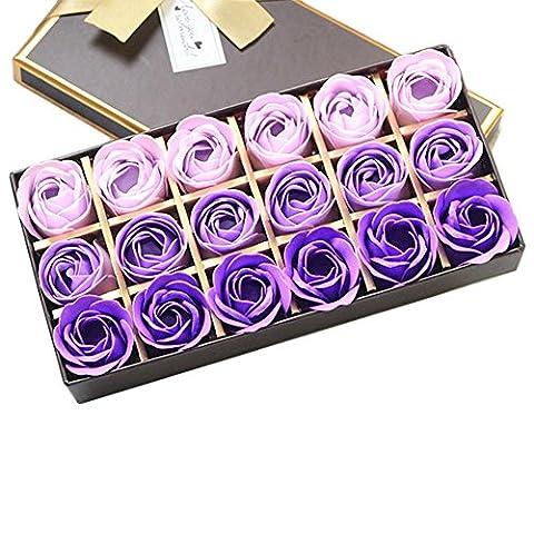 LianLe 18 Stk Duftseifen Rosen Seife Blumen Soap Flower in Elegant Box Hotel Deko Hochzeit Geschenk (Elegante Rosen-seife)