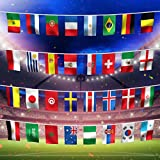 World Cup 2018 Football Bunting, FIFA World Cup Top 32 Nations hanging Small Flags Fabric Bunting Flags for Football Night, Garden Banners, Bar and Garden Decoration, Printed to both sides, 32 flags of competing countires (20x28 cm)