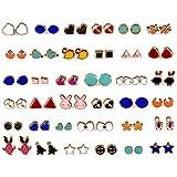 WISHKEY Plastic 36 Pair Stylish Earring Stud Combo Set with Heart Shape Box for Girls and Women