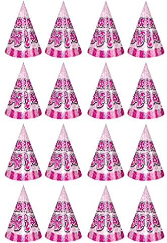 16 x Pink Girls Happy Birthday Classic Card Party Cone Hats