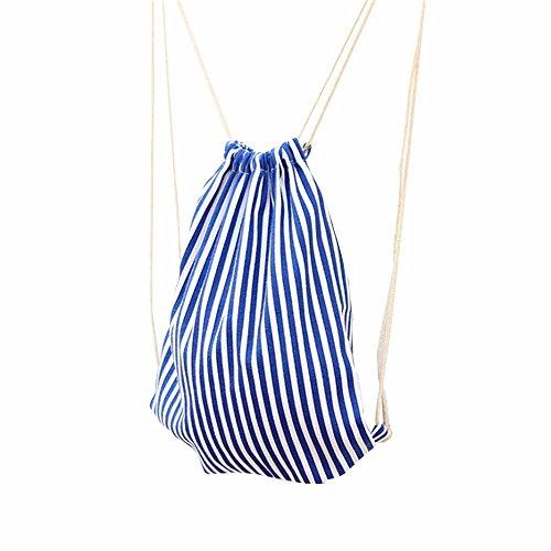 TianranRT , Damen Rucksackhandtasche Blau Gestreift