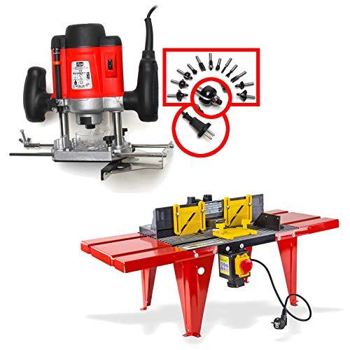 DeTec Set Oberfräse Fräsmaschine Fräse OF 1200 Watt Tisch-Fräsmaschine + Oberfräsentisch OFT 870