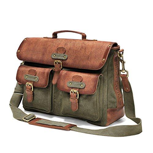 DRAKENSBERG Umhängetasche Kimberley-Messenger-Laptop-Bag, 15 L, oliv-grün, DR00121