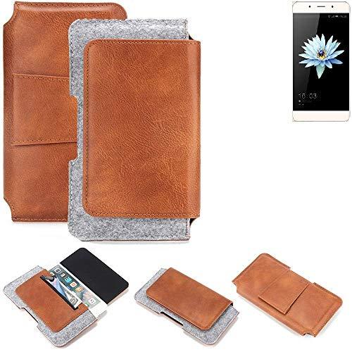 K-S-Trade® Für Hisense C1 Gürteltasche Schutz Hülle Gürtel Tasche Schutzhülle Handy Smartphone Tasche Handyhülle PU + Filz, Braun (1x)