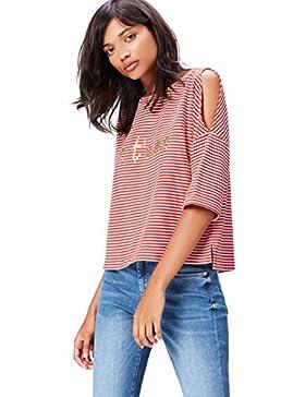 FIND Camiseta de Rayas con Hombros Descubiertos para Mujer