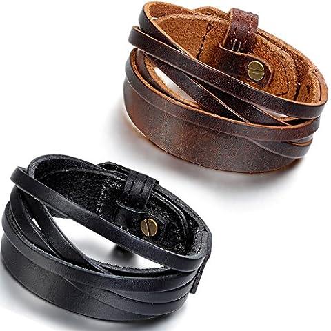 Flongo 2PCS Bracelet Alliage Cuir Menotte Enveloppez Enrouler Réglable Motard
