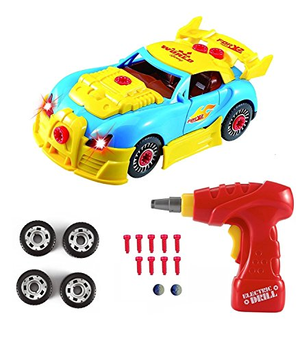 WarmBlood Construction Toys - Take Apart Toys Car Racing - 30 Take Apart Pieces with Realistic Sounds & Lights - Easy Build Your Own Car Kit with Electric Drill Tool for 3 Year Old Boys