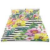 Soefipok Ensemble de Housse de Couette décoratif, Fleurs variées, Bouquet de Fleurs Imprimer Un Ensemble de literie décoratif avec 3 taies d'oreiller