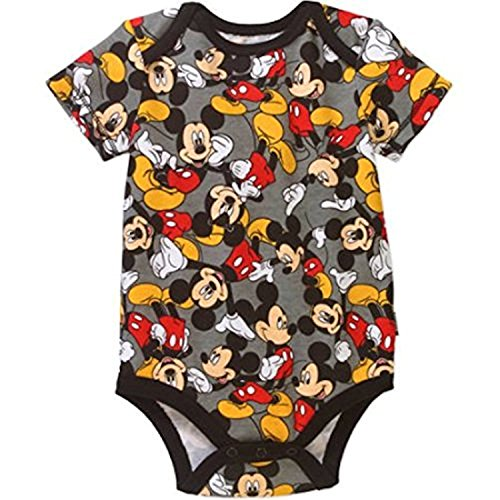 Disney Assorted Mickey Mouse Baby Boys Bodysuit Dress-Up Outfit (0-3 Months, Grey) (Dress Outfits Up Kids)