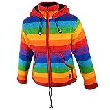Damen Regenbogen Strickjacke Goa Wolle Jacke mit Fleecefutter und Zipfelkapuze, Größe:44