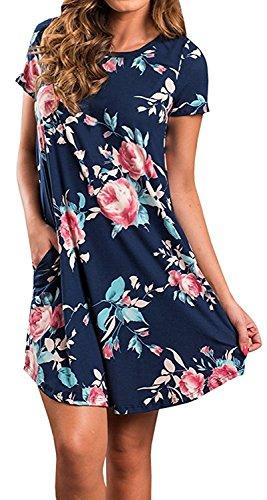 Minetom Damen Sommerkleider Kurzarm Blumenmuster Kurzes Strandkleid Mit Tasche Navy Blau