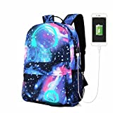UxradG Galaxy Mochila, Teen Girls Galaxy Patrón Luminoso Antirrobo Mochila con Puerto de Carga USB y Estuche as The Picture Free Size