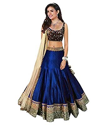 Varona Creation Women's Banglory Silk Unstitched Lengha Choli (VC06_Multi colour _Free Size)