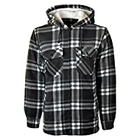 MYSHOESTORE Unisex Padded Shirts Lumberjack Collared Hooded Flannel Check Jacket Thick Quilted Work Wear Warm Thermal Fleece Fur Lined Top Casual Coat Plus Big Size S-5XL