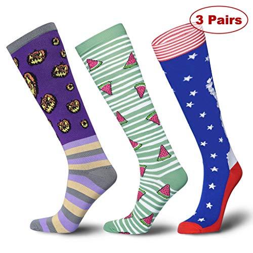 Snailify Herren & Damen Kompressionsstrümpfe Kompressionssocken Thrombosestrümpfe Bunte Socken Strümpfe Medizinisch 15-20mmHg - Sport Laufen Waden Schwangerschaft