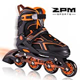 2pm Sports Größe verstellbar Inline Skates für Kinder, Herren und Damen, LED-Räder leuchten nachts auf - Orange L(38-41)