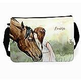 ilka parey wandtattoo-welt Schultertasche Schultasche Tasche Umhängetasche mit Mädchen und Pferd tsu20 auf Wunsch mit individuellem Namen