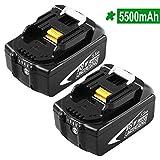 Hochstern 2 Pack BL1860B 5,5 Ah di batteria ricambio per Makita 18V Litio BL1860 BL1850 BL1840 BL1830 BL1815 BL1835 BL1845 LXT-400 Utensili a batteria con indicatore