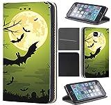 Samsung Galaxy J3 2016 J320/Duos Hülle von CoverHeld Premium Flipcover Schutzhülle Flip Case Motiv (1505 Fledermaus Bat Cartoon Halloween)