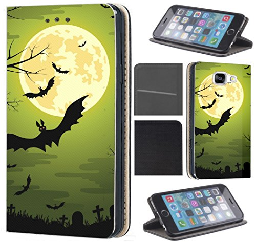 p Cover Hülle für Samsung Galaxy S7 G930F Schutzhülle Kunstleder Flip Case Motiv (1505 Fledermaus Bat Cartoon Halloween) (Cartoon-halloween-fledermäuse)