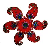 SBD Designer Instant Plastic Red Rangoli(Keri Design) Decorated With Stones And Beads For Festive Season 7 Pieces Set