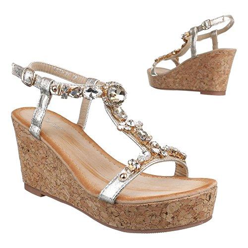 Ital-Design , chaussures compensées femme Doré