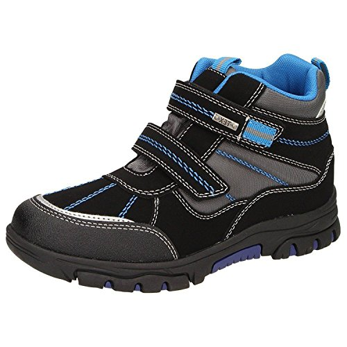 Canadians 467165 Jungen Winter-Boots Warmfutter Wasserabweisend Klettverschluss Schwarz Blau, Schuhgröße:EUR 33 (Winter Kinder Boot)