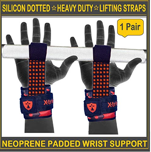 Xtrim Durafit Spotted Extra Grip Weightlifting Strap - Silicon Coated for Ultimate Grip - Deadlift Straps for Weight Lifting, Bodybuilding, Powerlifting, and Strength Training, Crossfit - (Orange)
