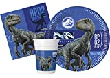 Kit Party Tavola Jurassic World 2 per 24 persone (88 pezzi: 24 piatti carta Ø23cm, 24 bicchieri plastica 200ml, 40 tovaglioli carta 33x33cm)