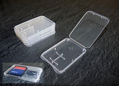 Preisvergleich Produktbild 5 Stück Schutzhülle für SD + Micro SD Speicherkarte Hülle ( EXTRA FLACH )