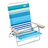 Rio Brands More Than A Stripe 5 Position Classic Lay Flat Beach Chair, Blue