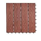 Terrassen- & Balkonfliesen Outdoor Bodenbelag, Kunststoff Holz DIY Garten Hof Anti-Rutsch-Boden Indoor-Balkon Badezimmer Anti-Korrosions-WPC Bodenbelag Größe: 30 * 30 * 2cm (Farbe : A)