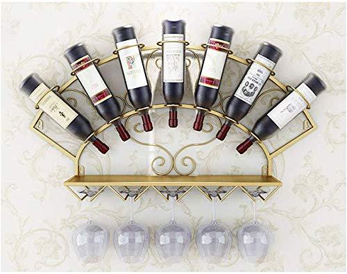 Weinregal und Glashalter zur Wandmontage, Weinregal und Glashalterung zur Wandmontage, Vintage-Nostalgie-Schmiedeeisen, Haushalts- und Küchenzubehör (Farbe: Gold)