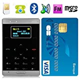 Mini téléphone portable débloqué format carte bleue mobile noir