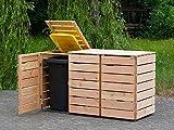 binnen-markt 3er Mülltonnenbox/Mülltonnenverkleidung 240 L Holz, Douglasie Natur