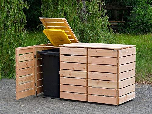 3er Mülltonnenbox / Mülltonnenverkleidung 240 L Holz, Douglasie Natur