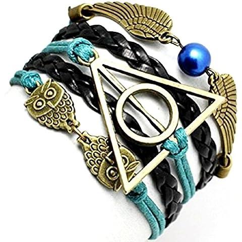 Aceite Verde - Negro pulsera de amistad Harry Potter Símbolo del triángulo y del círculo del búho y la idea Ali regalo Mujer Hombre
