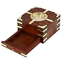 Handmade Indian Wooden Ashtray - 11 cm Outdoor Ashtrays - With Cigarette Storage Case B...