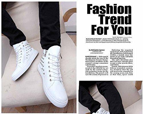 Hommes Sur Le Haut Rivet Bottes Automne Bottes En Cuir Britannique De Mode Fermeture Latérale Bottes Blanc