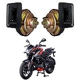 #3: Autofy Universal Bolex Bike Horn/Siren for All Bikes (Black and Golden, Set of 2)