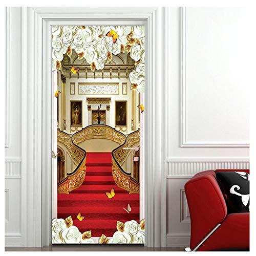 manbgt Art-Tür-Aufkleber 3D Treppen-roter Teppich-Tapeten-Wohnzimmer-Dekor-Entwurf durch Abziehbilder-Wand-Aufkleber