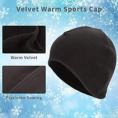 Thursday April 2 Pack Skull Cap Thermal Cycling Beanie Hat with Ear Covers Windproof Elastic Helmet Liner for Men Women Running, Skiing Outdoor Sports by Thursday April